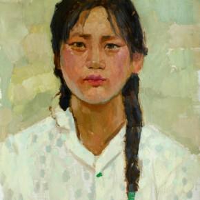 55 Wen Lipeng, The Girl Wearing a Sweater (of grey dots), oil on cardboard, 43.6 x 33.7 cm, 1973