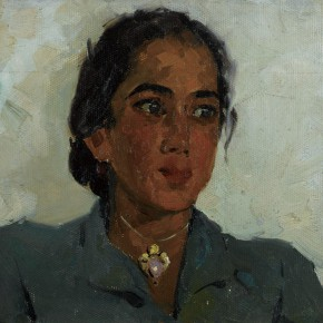 56 Wen Lipeng, The Uyghur Girl Wearing a Green Cloth, oil on cardboard, 28 x 36 cm, 1962