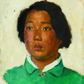 57 Wen Lipeng, The Girl with Short Hair Wearing a Green Cloth, oil on cardboard, 33 x 29.5 cm, 1973