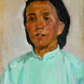 58 Wen Lipeng, The Woman Wearing a Blue Cloth, oil on cardboard, 42.3 x 32.5 cm, 1973
