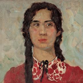 59 Wen Lipeng, The Uyghur Girl Dressed in Red, oil on cardboard, 28 x 36 cm, 1962