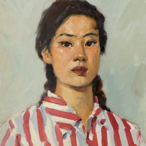 60 Wen Lipeng, The Girl Wearing a Cloth of Red Strips, oil on cardboard, 42.2 x 33 cm, 1975