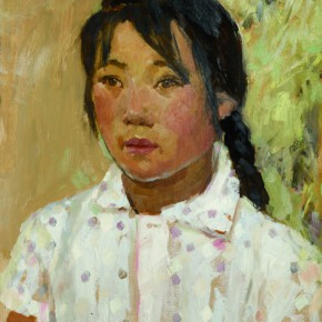 61 Wen Lipeng, The Girl Wearing a White Cloth (of purple dots), oil on cardboard, 43 x 33 cm, 1973