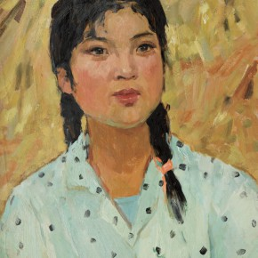 62 Wen Lipeng, The Girl in Front of the Haystack, oil on cardboard, 43.4 x 32.8 cm, 1973