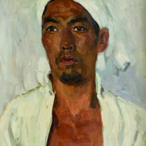 66 Wen Lipeng, The Senior Farmer Wearing a White Cloth and White Headband No.2, oil on cardboard, 44 x 33.4 cm, 1973