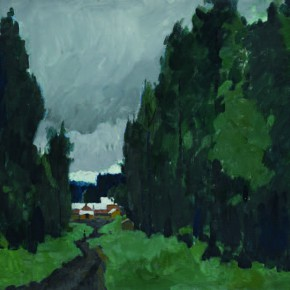 75 Wen Lipeng, The Path Leading to the Tree Farm, oil on cardboard, 40.3 x 52.3 cm, 1980