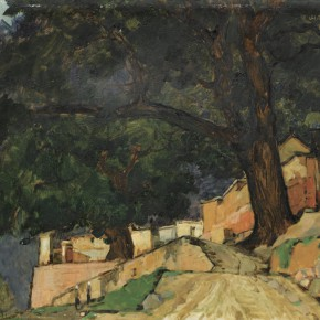 76 Wen Lipeng, A Village of Taihang Mountains, oil on cardboard, 38.8 x 54.4 cm, 1977