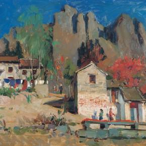 78 Wen Lipeng, A Mountain Village Primary School, oil on cardboard, 37.2 x 53.5 cm, 1975