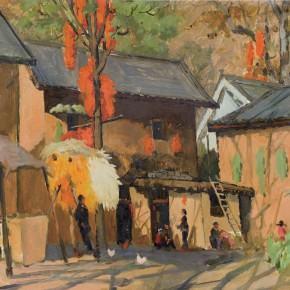 79 Wen Lipeng, The Autumn of the Mountain, oil on cardboard, 38 x 51.2 cm, 1977