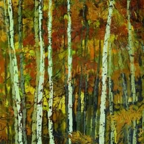 80 Wen Lipeng, In the Birch Forest, oil on cardboard, 39.5 x 32.8 cm, 1980