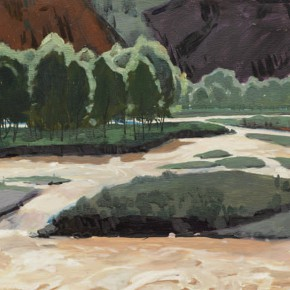 82 Wen Lipeng, Under the Qilian Castle, oil on cardboard, 29.1 x 52.9 cm, 1978