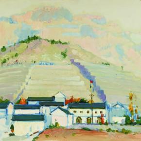 83 Wen Lipeng, New Village of Lin County, oil on cardboard, 39.1 x 54.2 cm, 1975