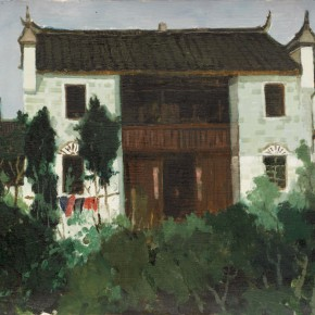 86 Wen Lipeng, The Local-Style Dwelling House in Fenghuang, oil on cardboard, 40 x 52.6 cm, 1981