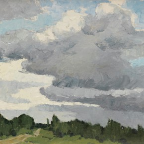 87 Wen Lipeng, Clouds of the Northern China, oil on cardboard, 35.2 x 52.5 cm, 1980