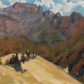 89 Wen Lipeng, In the Gongwu Mountains, oil on cardboard, 33 x 45 cm, 1977