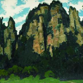 91 Wen Lipeng, Peaks of Zhang Jiajie, oil on cardboard, 40.3 x 52.5 cm, 1981