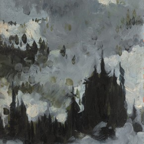 93 Wen Lipeng, Heavy Clouds Covering the Snow Mountain, oil on cardboard, 29.2 x 33 cm, 1973