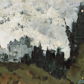 96 Wen Lipeng, Under the Snow Mountains, oil on cardboard, 32 x 23.5 cm, 1961
