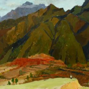 99 Wen Lipeng, Major Peak of Wangwu Mountains, oil on cardboard, 34.5 x 47.2 cm, 1977