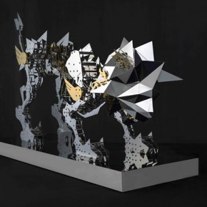 """Hsi Shih Pin Polyhedron Lion 2014 Stainless Steel and Titanium Plating 108x60x227cm 1 290x290 - Soka Art Center announces """"Circus Maximus"""" Hsi Shih-Pin Solo Exhibition opening on March 7"""