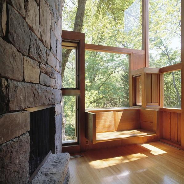 Living-room of the Norman and Doris Fisher House, Hatboro, Pennsylvania, Louis Kahn, 1960-67 © Grant Mudford
