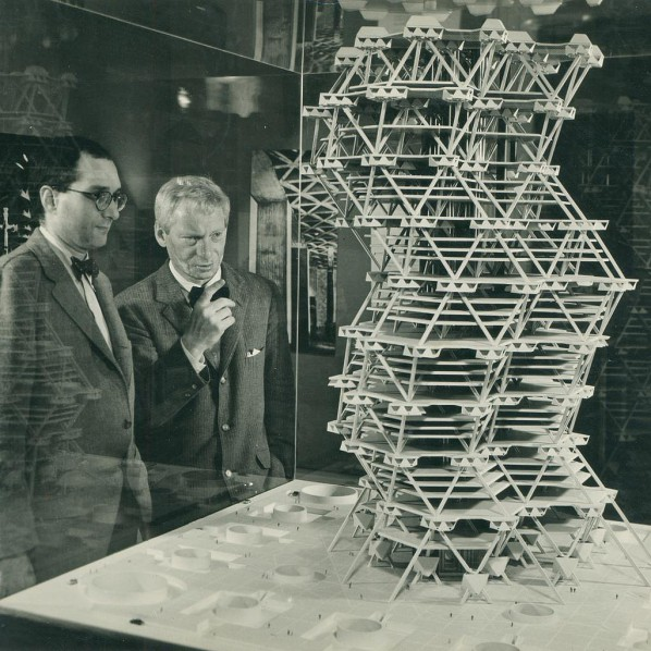 Louis Kahn in front of a model of the City Tower Project in an exhibition at Cornell University, Ithaca, New York, February 1958 © Sue Ann Kahn