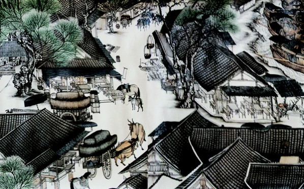 "Lu Hao, ""Details of the Riverside Scene at Qingming Festival without a Man"", Gong-bi on silk, 1000 x 50 cm"