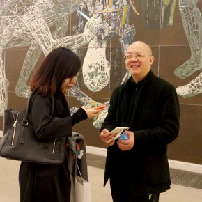"""02 The artist interviewed by the media 290x290 - """"Man-Machine Integration"""" New Aesthetics–Miao Xiaochun: Save As Opened in Beijing"""
