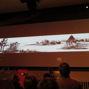 """09 At the end of the opening ceremony, Xu Bing's hand-painted animation """"Chinese Character""""was screening..."""