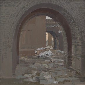 59 Yuan Yuan, The Small Town outside the City Gate, oil on canvas, 50 x 50 cm, 2009