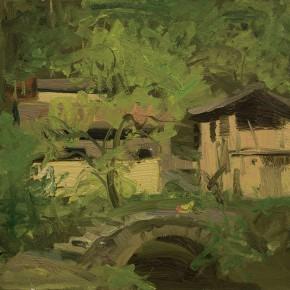 71 Yuan Yuan, The Stone Bridge of Dakengdi Village, oil on canvas, 40 x 40 cm, 2011