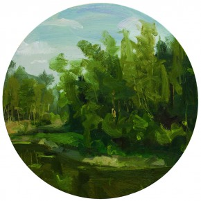 76 Yuan Yuan, The Bamboo Forest, oil on canvas, diameter 60 cm, 2011