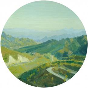 77 Yuan Yuan, Overlooking, oil on canvas, diameter 60 cm, 20099