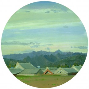 78 Yuan Yuan, The Mountain Village in the Sunset, oil on canvas, diameter 60 cm, 2009