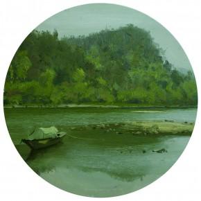 80 Yuan Yuan, Memory of Oujiang, oil on canvas, diameter 60 cm, 2011
