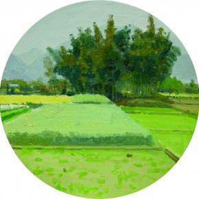 81 Yuan Yuan, The Roadside Scenery, oil on canvas, diameter 80 cm, 2012