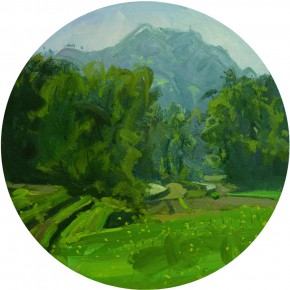 83 Yuan Yuan, The Green Valley, oil on canvas, diameter 80 cm, 2011