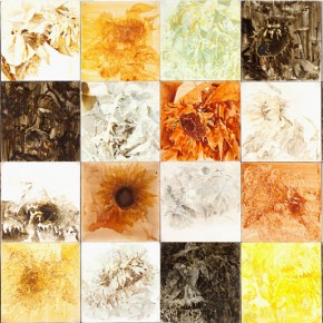 02 Kang Lei, Sunflower Diary, tempera, 40 x 40 cm x 32 pieces, 2010