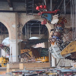 15 The Phoenix is installed in the dock of Arsenale Venice 290x290 - Artist Xu Bing's Huge Industrial-scraps Installation to Be Displayed in the Dock of Arsenale, Venice in May