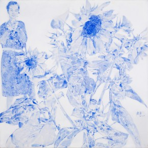 60 Kang Lei, The Songs among Flowers No.2, tempera, 60 x 60 cm, 2014