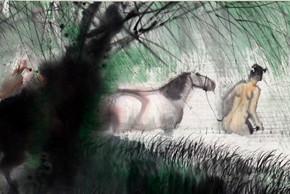 01 Peng Xiancheng Horses Bathing Figure No.4 17.5 x 159 cm 2013 290x194 - The Sinuous Grace of Ink 1990-2014 – Peng Xiancheng Solo Exhibition opens in Taiwan