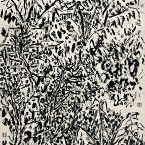 02 Cui Zhenkuan Raindrops Drummed Rhythmically against the Banana Leaves 232 x 119 cm 2011 290x290 - Mountains in Meditating – Cui Zhenkuan Chinese Painting Exhibition Opening at the National Art Museum of China
