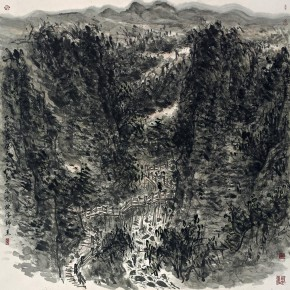03 Cui Zhenkuan Canyon in Taihang Mountains 123 x 123 cm 2013 290x290 - Mountains in Meditating – Cui Zhenkuan Chinese Painting Exhibition Opening at the National Art Museum of China