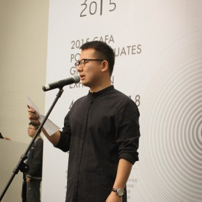 """05 Wang Yicheng as the representative of the postgraduate students extended thanks to the guidance of their instructors 290x290 - The Extension of """"Researching Exhibition"""": 2015 CAFA Postgraduate Exhibition is unveiled at CAFAM"""