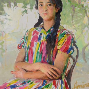 18 Shang Ding Uygur Lady Sitting Under Grape Arbor 290x290 - Shang Ding Oil Painting Exhibition Opened at Chinese Academy of Oil Painting