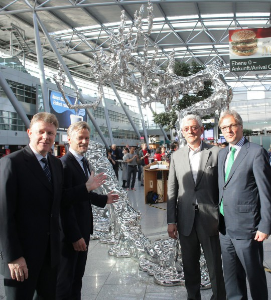 "Unveiling the steel sculpture "" China Scene No. 4 "" by Chen Wenling at Dusseldorf Airport. Ludger Dohm, Chairman of the Management Board Flughafen Düsseldorf; Jan Pellinen, Sales Manager Finnair; Walter Smerling; Spokesman for the curatorial committee; Hans-Georg Lohe, Cultural Affairs Düsseldorf."