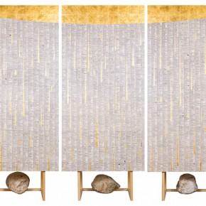 D01 Dictionary Ⅱ- An Evening, Gold leaf, dictionary of traditional Chinese  on canvas  panels, 180x90cm(5 piece for a set), 2015
