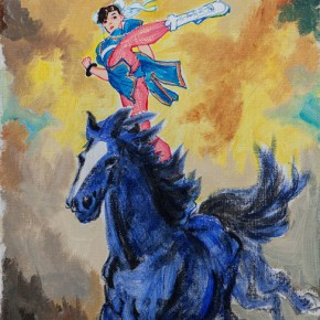 Feng Mengbo The Indigo Horse 2014 Mixed media on canvas 80x40cm 290x290 - The Loudest is Silent: Picturing Feng Mengbo Opening at Hanart TZ Gallery, Hong Kong