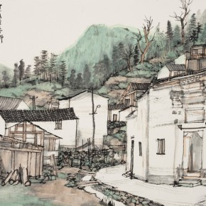 26 Lin Rongsheng Sketch of Guilin Town of the North of Fujian Province colored ink on paper 42 x 52.7 cm 2015 290x290 - South & North – the Exhibition of Landscape Paintings by Lin Rongsheng, Fang Xiang, Qiu Ting Unveiled
