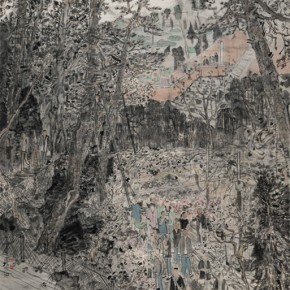 27 Fang Xiang Spring Tour to the Fragrant Hills Figure 250 x 125 cm 2014 290x290 - South & North – the Exhibition of Landscape Paintings by Lin Rongsheng, Fang Xiang, Qiu Ting Unveiled